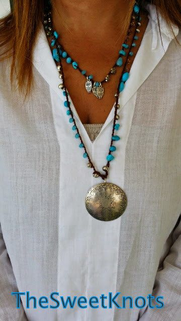 Crochet  vintage medallion necklace turquoise by TheSweetKnots, $30.00