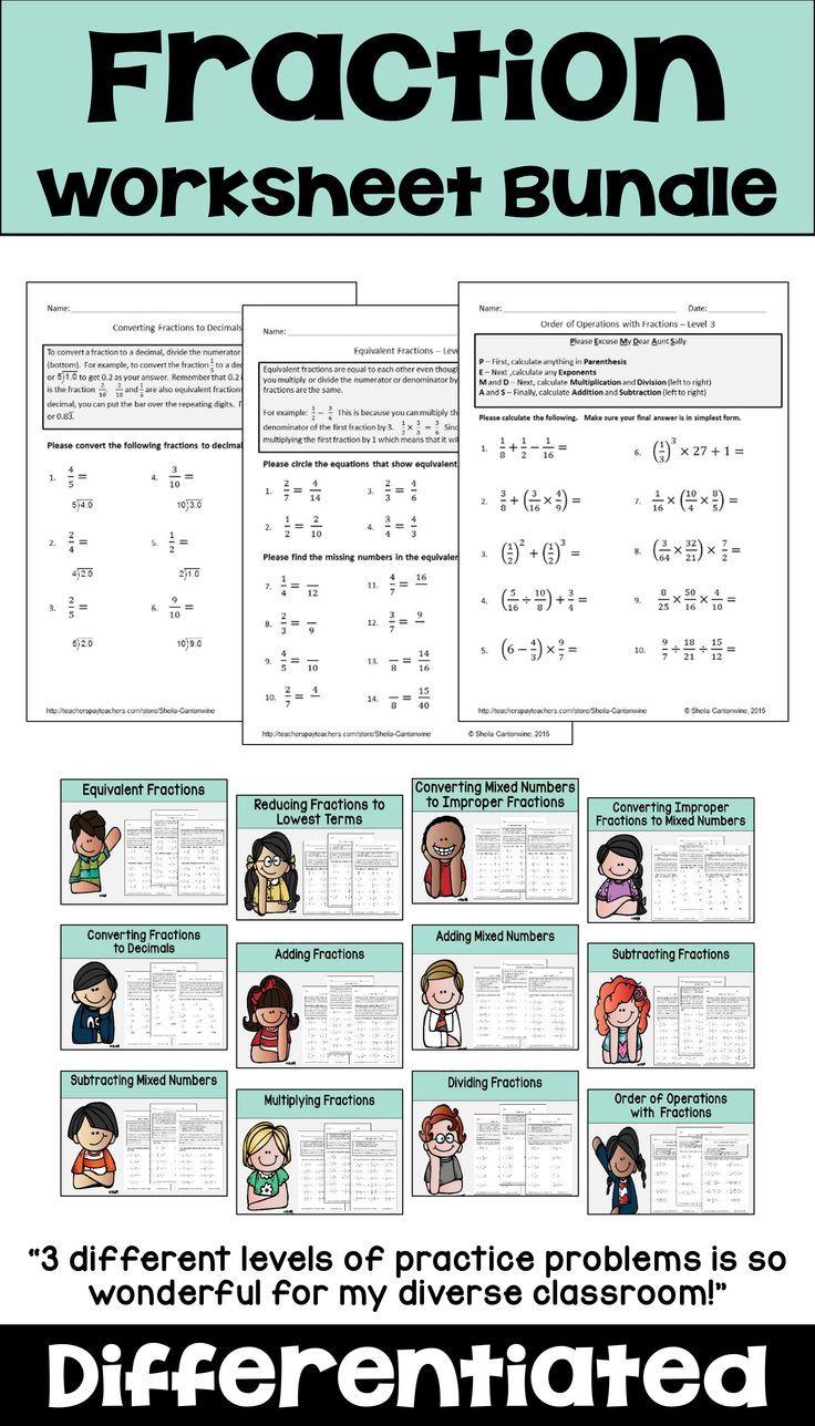 Fraction Worksheet Bundle Add Subtract By Sheila Cantonwine Fractions Worksheets Fractions Differentiation Math [ 1288 x 736 Pixel ]