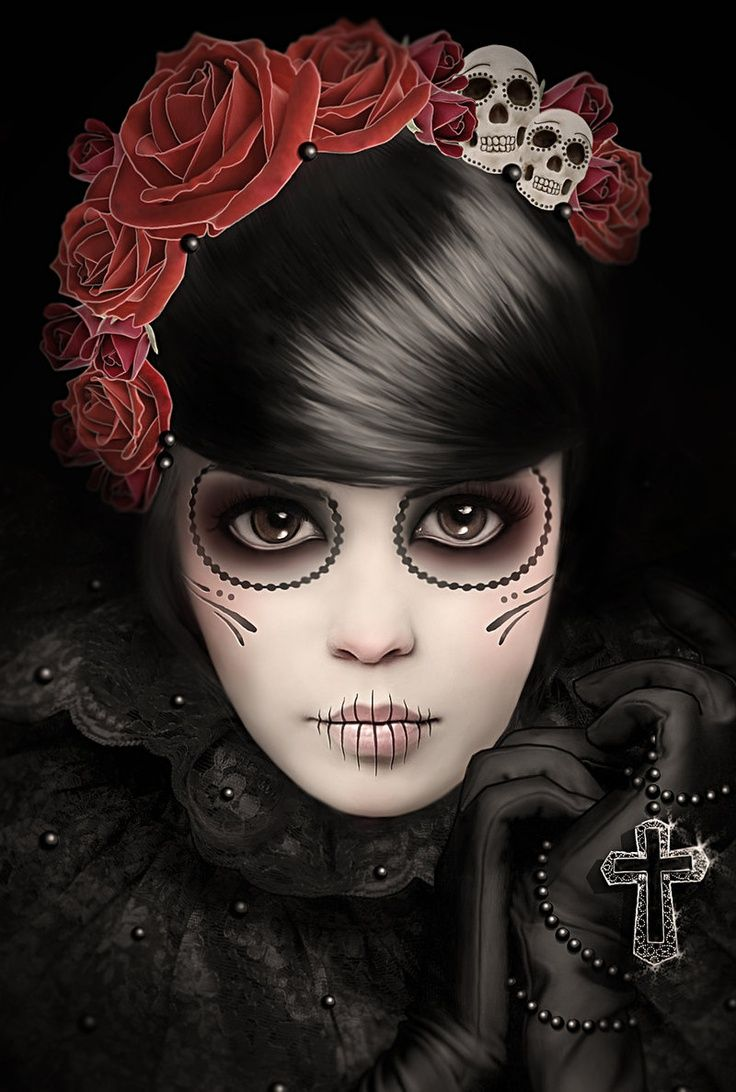 Dia de los Muertos   Dia de los Muertos Add skulls to the floral headband