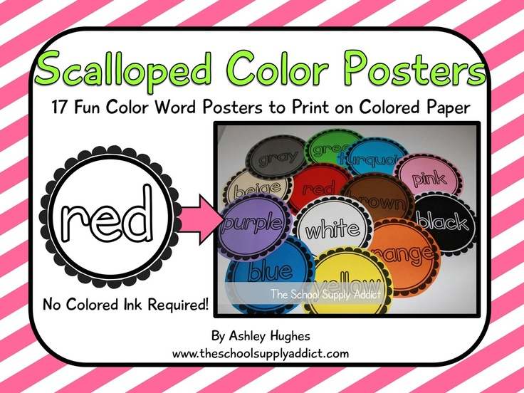 20 Page PDF Containing Black And White Scalloped Color Word Posters Print Them On Colored Paper Save A Little Moolah