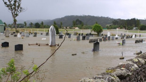 Summer weather bomb low: The cemetery at Karamea.