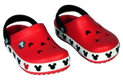 Mickey theme casual clogs by Crocs.    http://www.babyoye.com/crocs-mickey-clogs-red-black-1yr-to-8yr.html