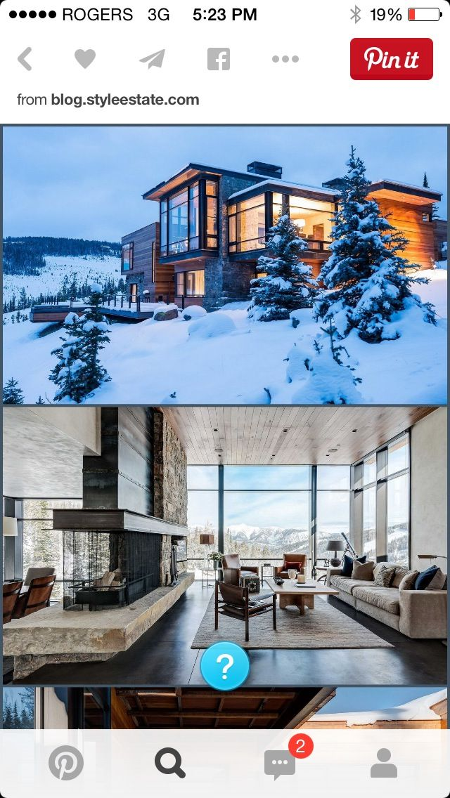 Tahoe House - elevation and interior with fireplace
