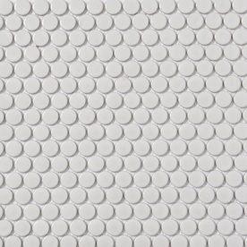Style Selections White Glazed Porcelain Mosaic Penny Round