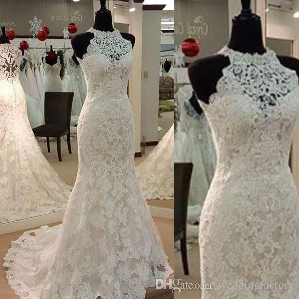 Full Lace Wedding Dresses Mermaid Style 2016 Bridal Gowns Sheer Halter Neck Sleeveless Illusion Back Appliqued Sweep Train High Quality Wedding Designer Dresses Wedding Dress Sexy From Weddingfactory, $199.0  Dhgate.Com