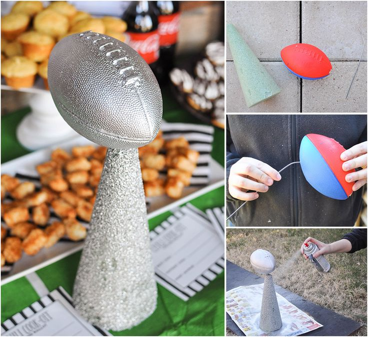DIY Football Party Trophy :: How to make a Football Trophy out of a foam cone, a foam football, and some spray paint. Perfect for a football party or a Super Bowl party! Featured in the Chili Cook-Off Tailgate Party - Wit & Wander