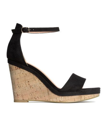 Check this out! Wedge-heel sandals in imitation suede with an adjustable ankle strap with metal buckle. Imitation leather lining, imitation leather insoles, and soles in imitation cork and rubber. Front platform height 1/2 in., heel height 3 3/4 in. - Visit hm.com to see more.