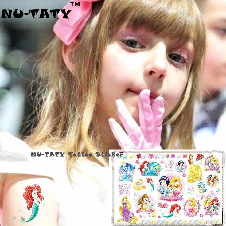 NU-TATY Cinderella Snow White Mermaid Child Temporary Flash Tattoo Body Art Sticker 17*10cm Tatoo painless Henna tattoo stickers