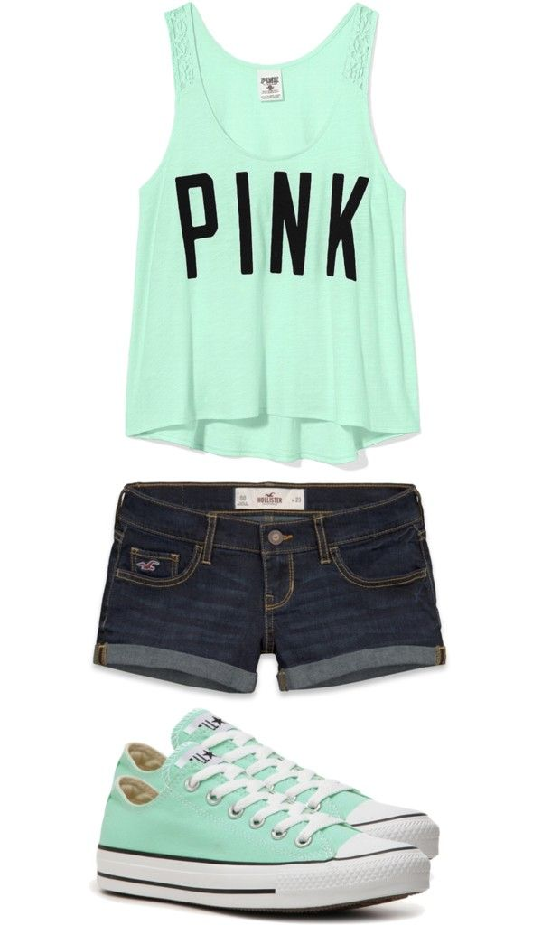ecd92cf548fb Pink brand teal tank with teal Converse shoes. Cute outfit Teen ...