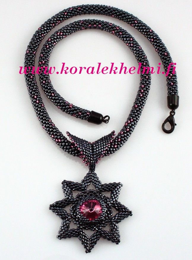 Toho seed beads and Swarovski, crocheted rope and pendant.