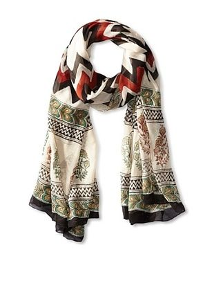 59% OFF MILA Trends Women's Chiffon Hand Block Print Scarf, Red/Black, One Size