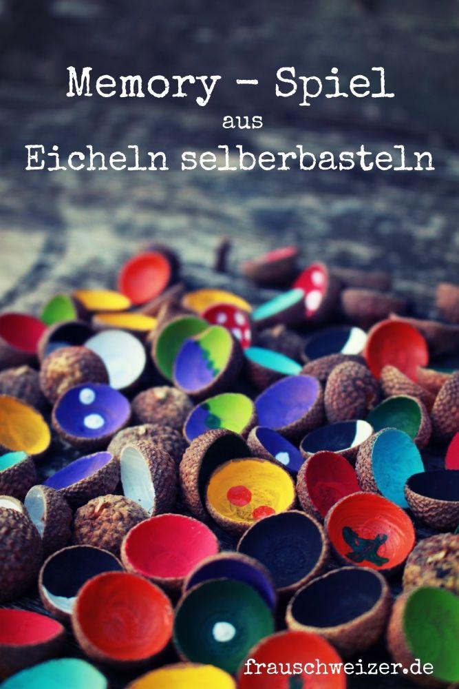 Basteln mit FrauSchweizer: Memory Spiel aus Eichel Hauben