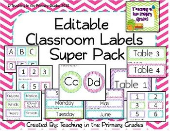 Cute chevron labels pack. Great for redecorating your classroom. Includes word wall headers, tons of pre-made labels and every label size is provided as a template with editable text as well! $