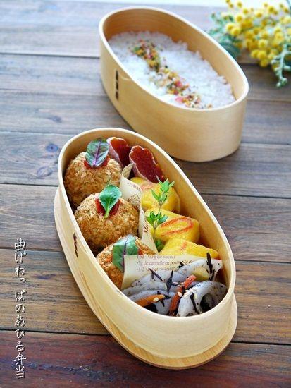 2014.1.23のお弁当【鮭とポテトの揚げないコロッケ弁当】|曲げわっぱのあひる弁当