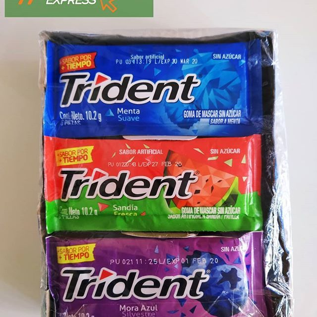 Producto Disponible En Turesuelveexpress Caja De Chicles Trident Surtidos 18 Unidades De 3 Food Pins Daily Producto Disponible En Turesuelveexpre Food Gum