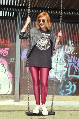 Street style with PCP leggings and leather jacket
