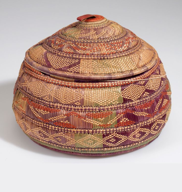 africa basket with lid probably from ethiopia plant fiber dye and hide ca 1912. Black Bedroom Furniture Sets. Home Design Ideas