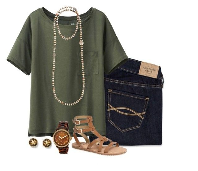 Ootd by neanariley on Polyvore featuring polyvore, fashion, style, Uniqlo, Abercrombie & Fitch, Sam Edelman, Bettina Duncan, MICHAEL Michael Kors and Tory Burch