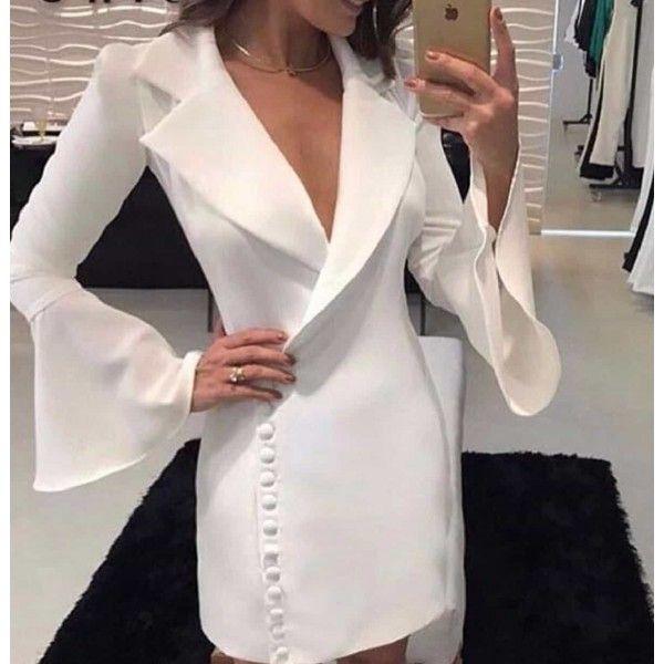 Dugme Detayli Beyaz Ceket Elbise Elbise Kiyafet Elbise Modelleri