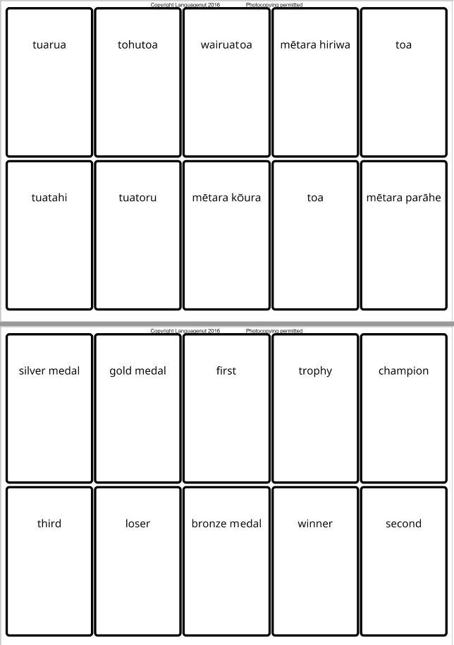 Maori language - Olympics worksheet