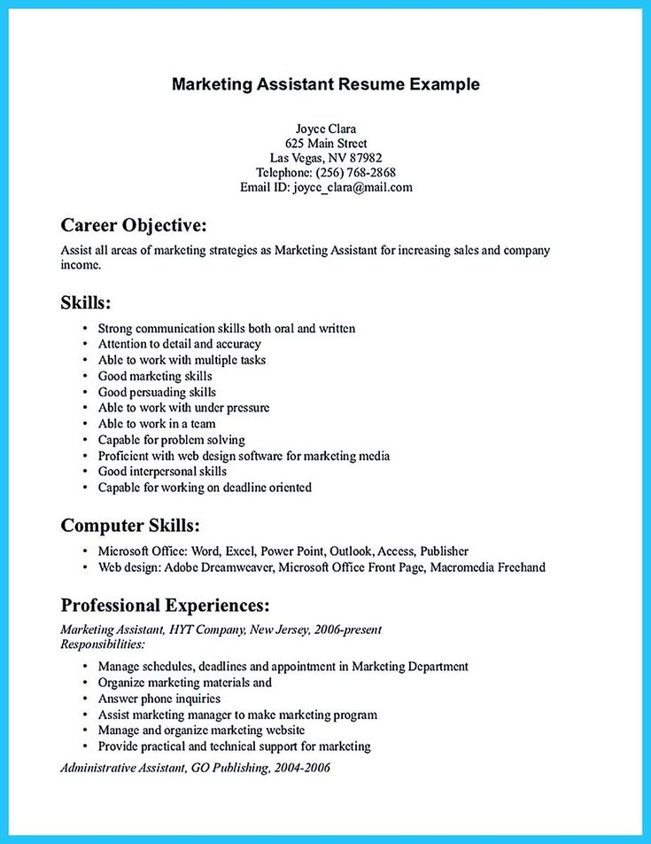 awesome Writing Your Assistant Resume Carefully, Check more at - marketing assistant resume sample