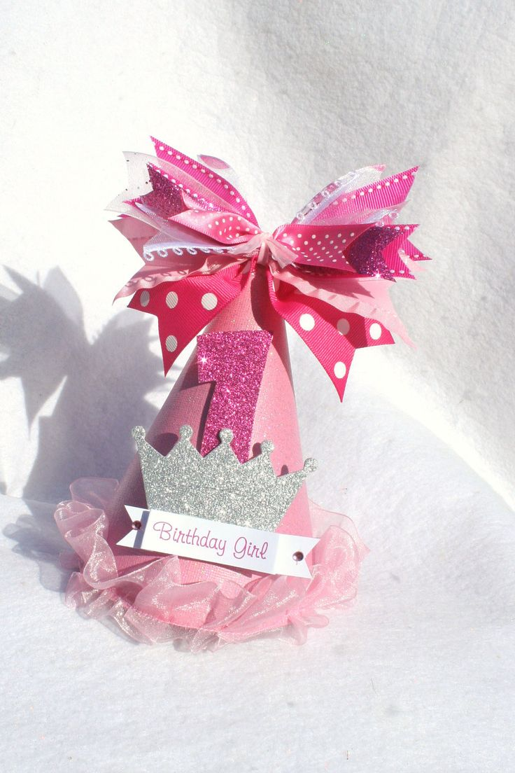 pink sparkly princess party hat with silver crown and polka dots light pink hot pink. $13.50, via Etsy.