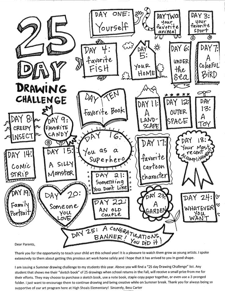 25 days of drawing.pdf ... This would be fun to do with different prompts and in a doodle journal or calendar! :)