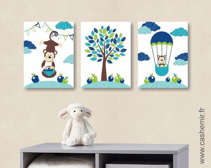 Lot de 3 illustrations pour enfant et bébé garçon décoration Illustration pour chambre d'enfant cadeau naissance anniversaire n109 : Décoration pour enfants par cashemir