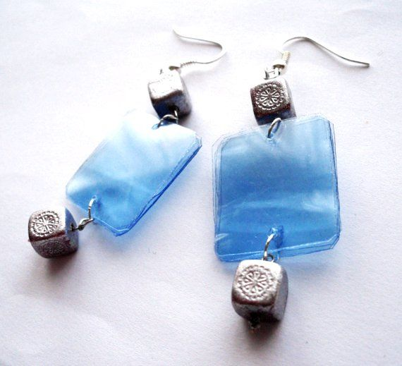 Blue recycled plastic bottle dangle earrings upcycled jewelry, eco friendly, sustainable with silver beads
