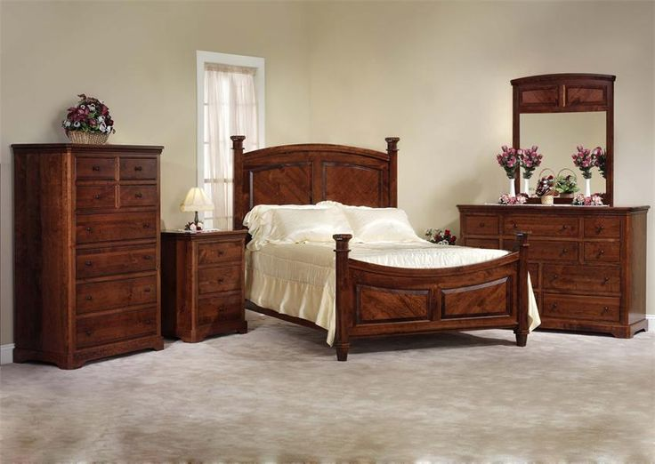 Amish Johnson Five Piece Bedroom Furniture Set in Rustic Cherry – Made in USA
