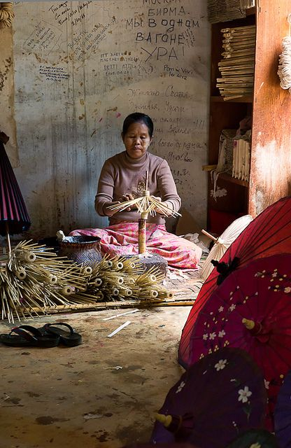 Traditional Umbrella Crafter. Myanmar