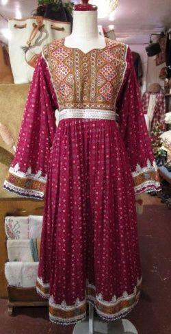 画像1: ボルドー×シルバー×カラフル刺繍ミラーワーク&ビーズりぼん付き長袖アフガンドレス