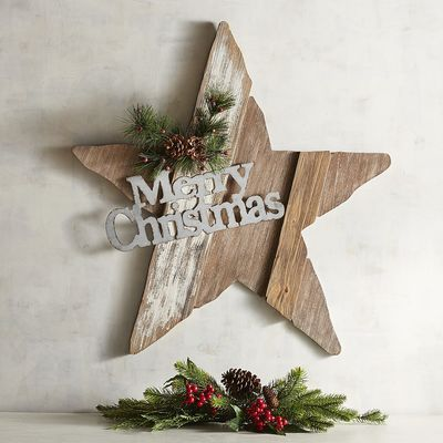 This is the ideal #rustic #christmas #star.  The #woodenplank and #pinecones make it super cozy and a perfect #farmhouse addition! (affiliate)