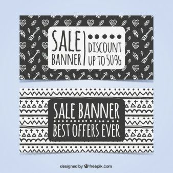 Black and white ethnic sale banner