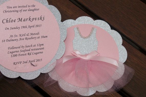 BALLERINA INVITATION  Silver and Pink Tutu ballet by PoshMyParty