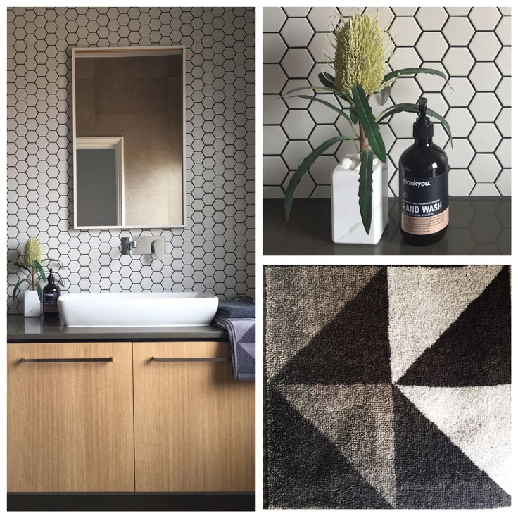 A Natural palette contrasts with the feature matt white hexagon mosaic tiles and black grout in this Ensuite.