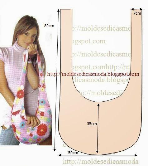 MOLDE DE SACO COM MEDIDAS Com base nas medidas da figura faça o molde de saco. Fácil de cortar e costurar. As cores devem ser ao nosso gosto. Com as medida