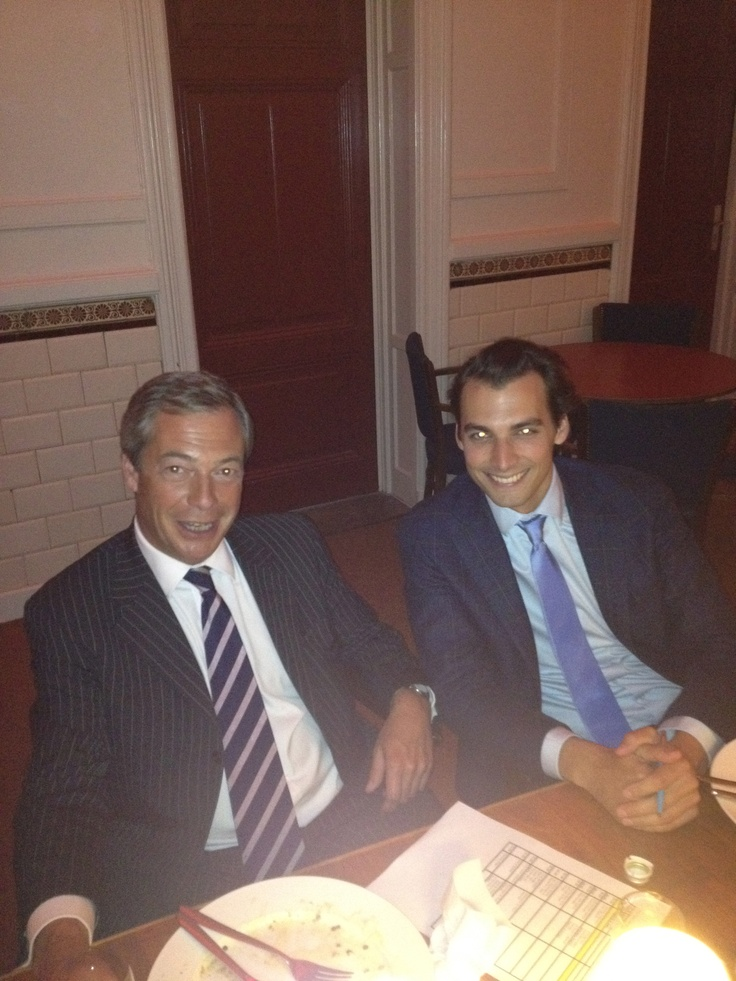 Having dinner with Nigel Farage and Thierry Baudet, during an unforgettable night in De Balie, Amsterdam