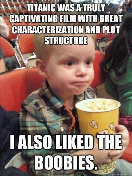 Movie critic kid likes boobies