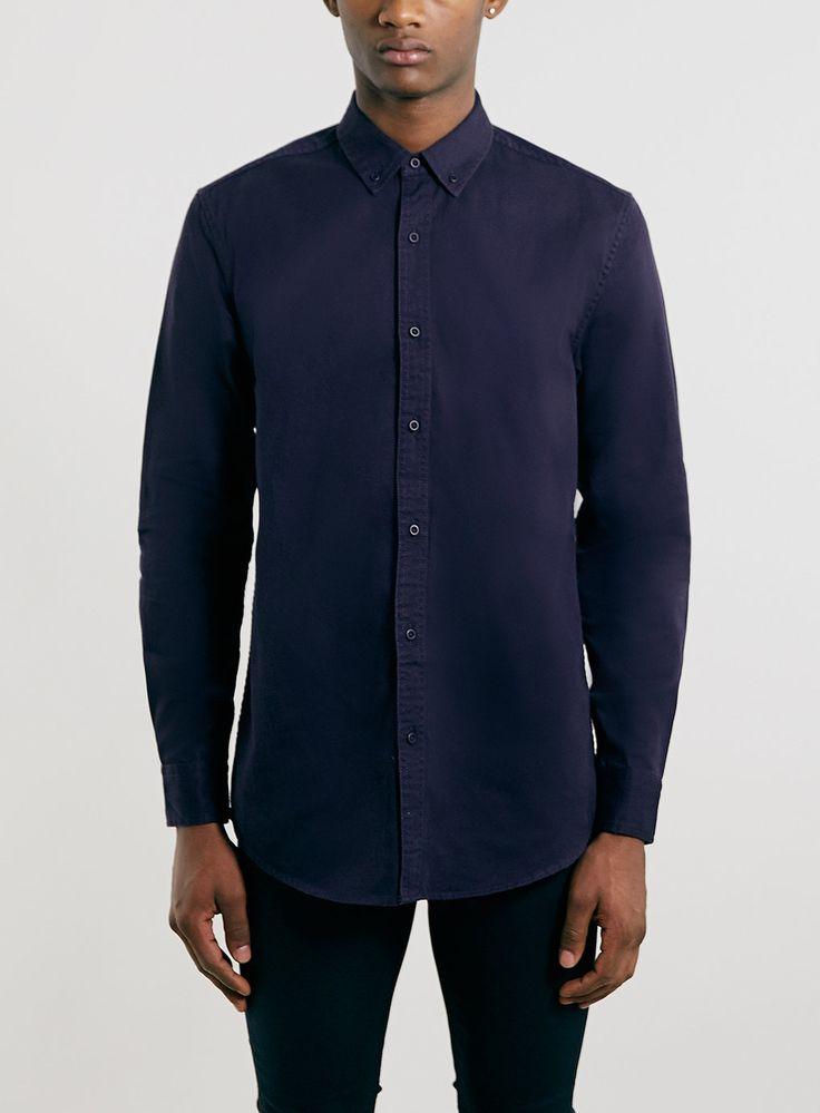 Washed Purple Twill Long Sleeve Shirt