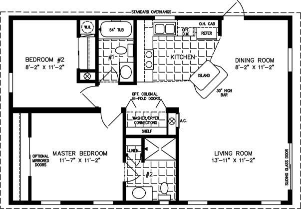 800 Sq FT Cottage Plans | Manufactured Home Floor Plans | 800 sq ft - 999 sq ft