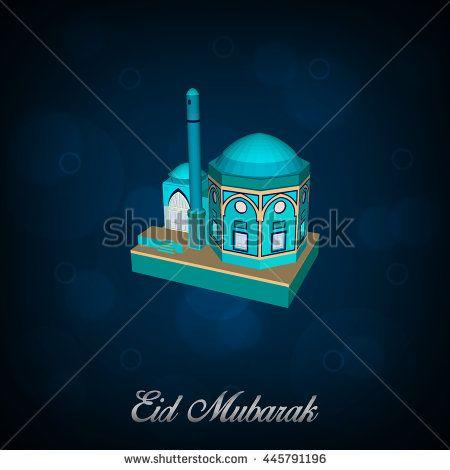Eid Mubarak Islamic Greeting Banner Background Isometric Style