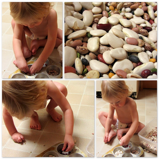 Toddler Activity - Sorting dried beans is an easy sensory activity
