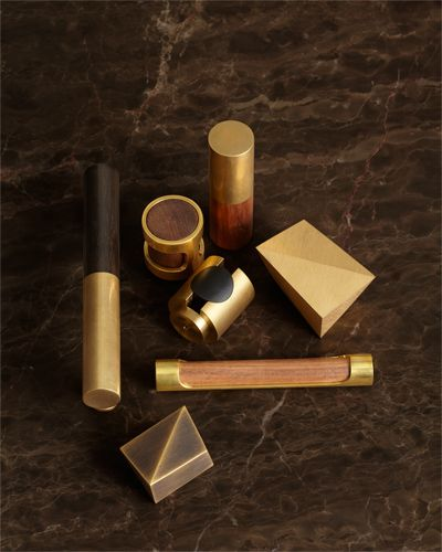 Best Home Accessories - Inspiring Home Decor - ELLE DECOR Nanz hardware -- interesting wood and brass.