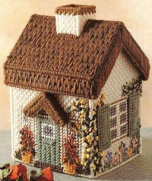 Free plastic canvas house pattern (with variations). Website is in Russian, pattern is in English.