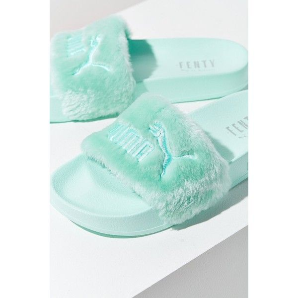 Puma Fenty by Rihanna Leadcat Faux Fur Pool Slide ($90) ❤ liked on Polyvore featuring shoes, puma shoes, puma footwear and faux fur shoes
