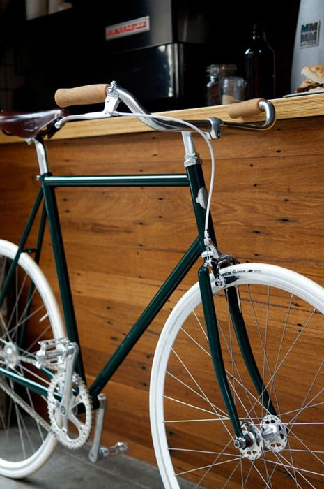 green and white bicycle
