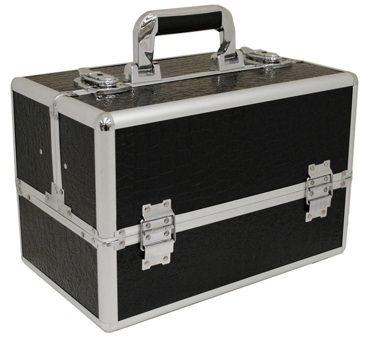 Vanity Flair Aluminium Croc Beauty Case FI2801 Black