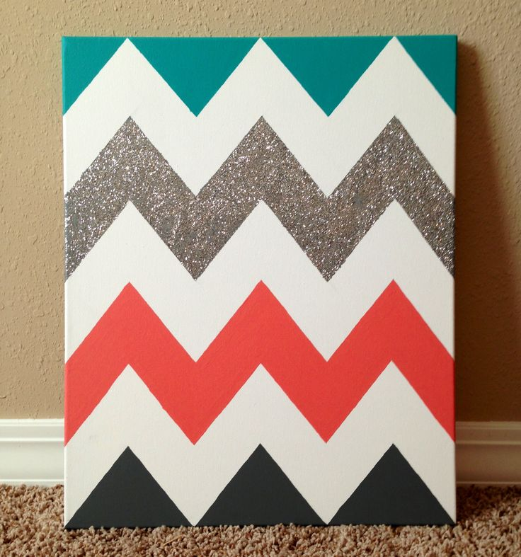Just add your letters! #Chevron #Sorority #DIY #Painting