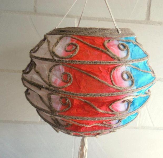 Bunter Lampion aus Reispapier mit 10er LED Kette von silver-style via dawanda.com